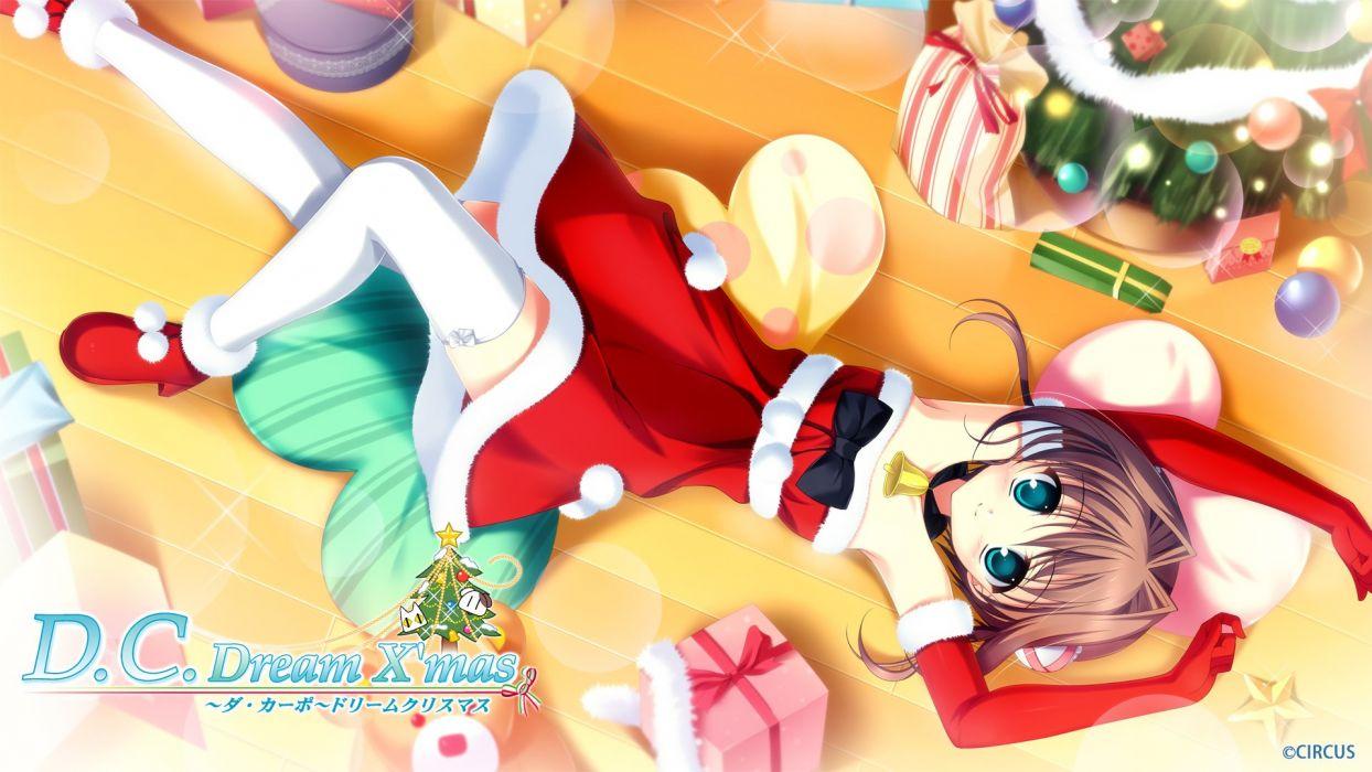 asakura yume brown hair christmas da capo da capo dream x'mas da capo ii dress kayura yuka thighhighs wallpaper