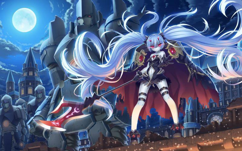 armor clouds demon gloves horns long hair night original red eyes sky tonchan weapon white hair wallpaper