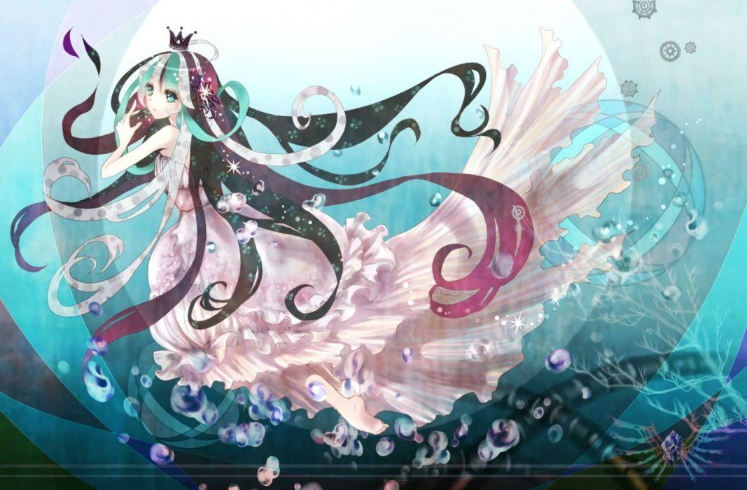 barefoot bubbles crown dress green hair pink hair tagme underwater water white hair wallpaper