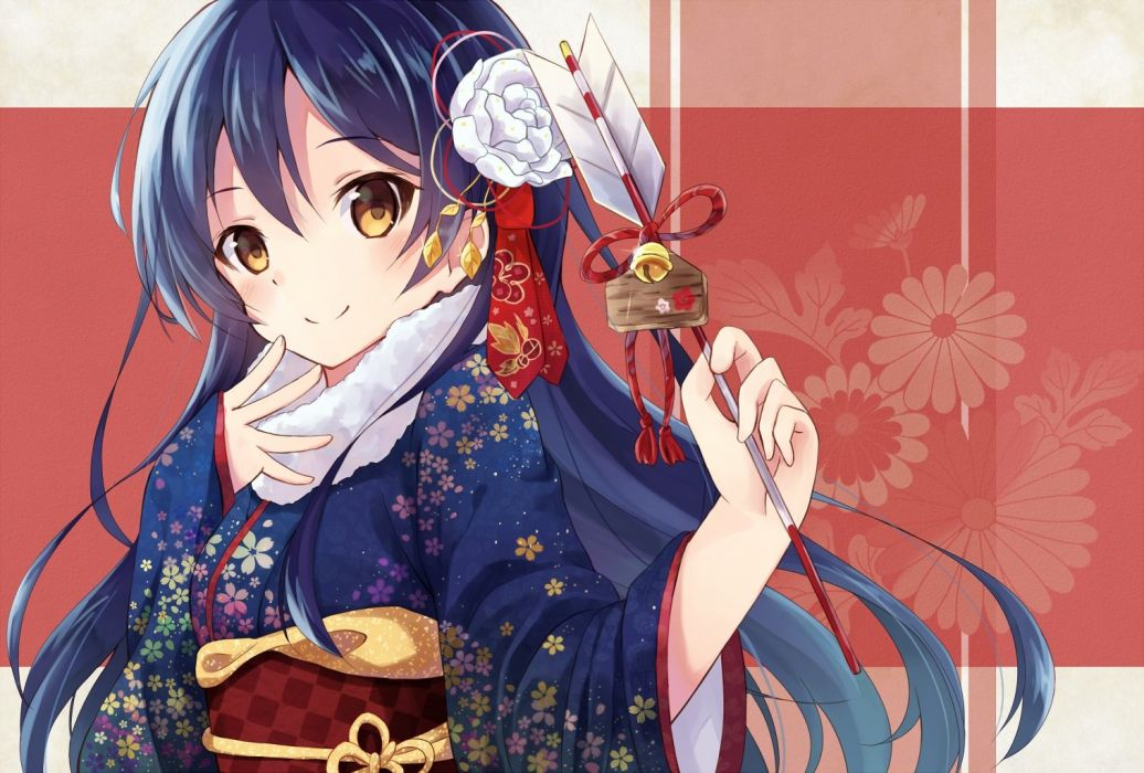 bell blue hair brown eyes japanese clothes kimono long hair love live! school idol project nonono sonoda umi wallpaper