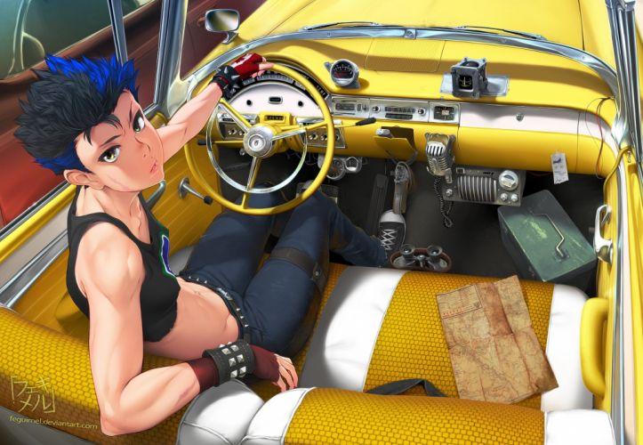 black hair blue hair car erect nipples feguimel flat chest gun mirror original short hair signed weapon wristwear wallpaper