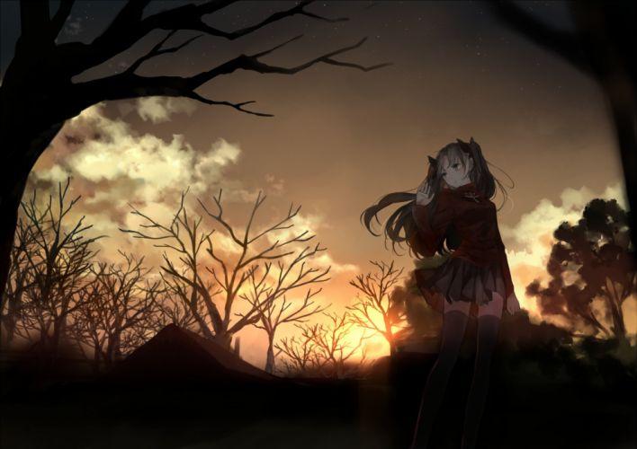 black hair bou shaku fate stay night long hair skirt stars sunset thighhighs tohsaka rin tree twintails zettai ryouiki wallpaper