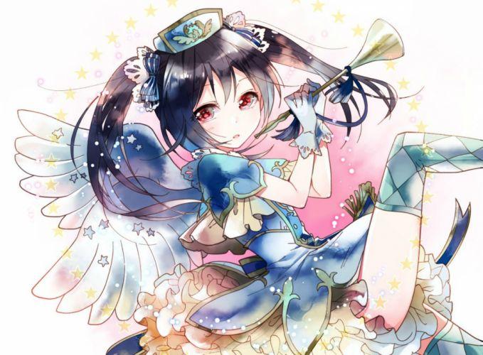 black hair instrument love live! school idol project red eyes skirt twintails wings yazawa nico yukinokoe wallpaper