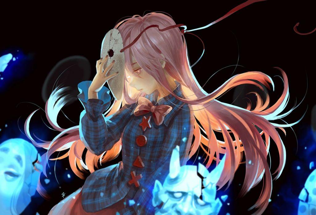 bow hata no kokoro long hair mask pink eyes pink hair seeker touhou wallpaper