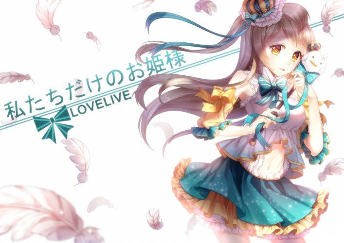 bow brown hair feathers kan (rainconan) long hair love live! school idol project minami kotori orange eyes wallpaper