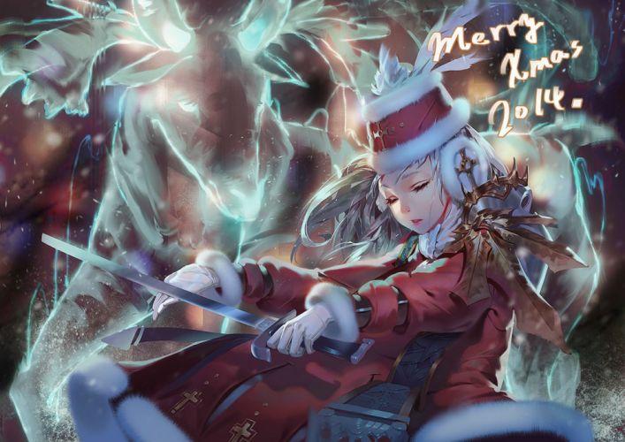 christmas gloves gray hair hat karasu-san (syh3iua83) long hair original santa costume sword weapon wallpaper