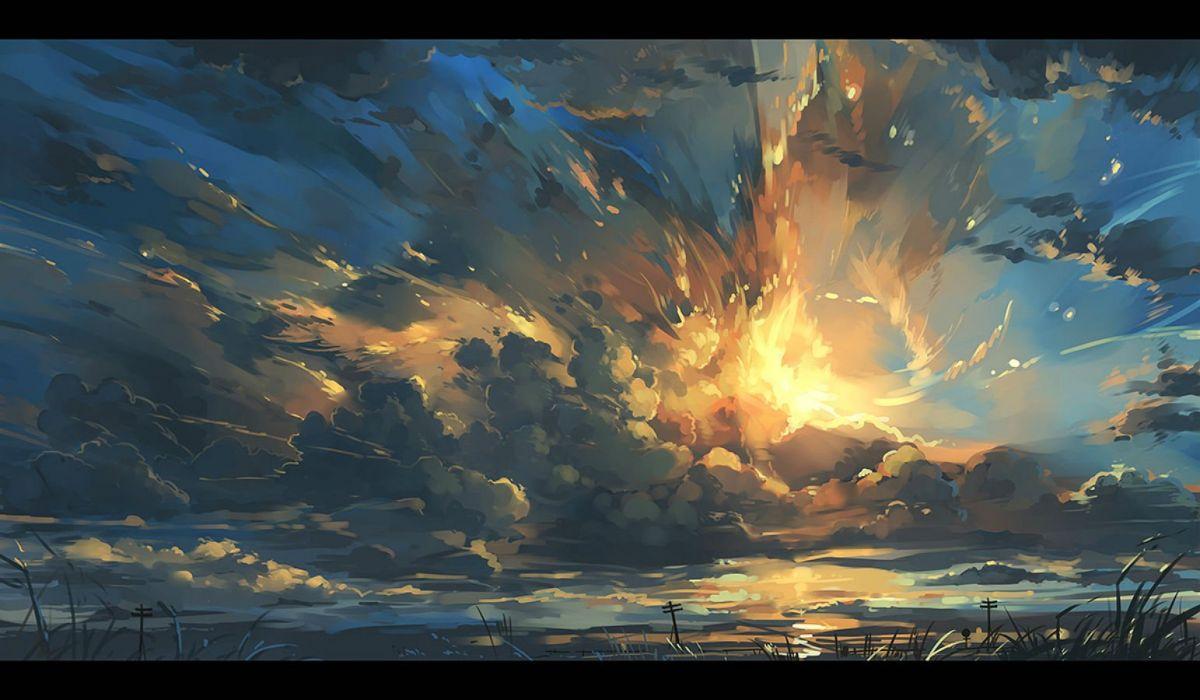 clouds grass nobody nodata original scenic sky sunset wallpaper