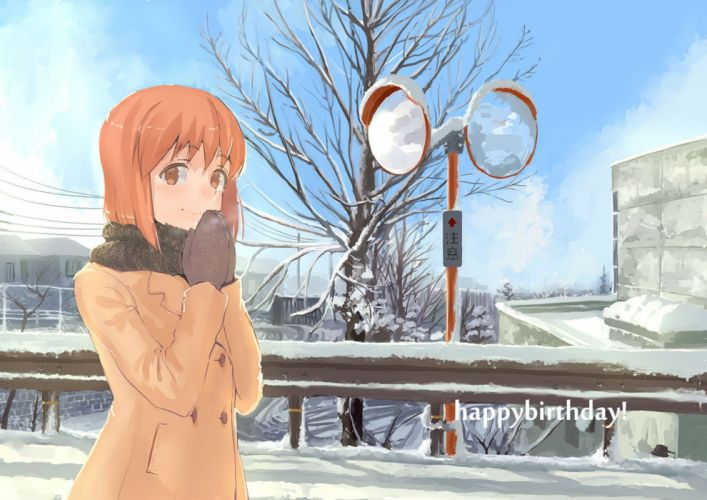 clouds gloves hagiwara yukiho idolmaster jyon orange eyes orange hair scarf short hair snow tree winter wallpaper