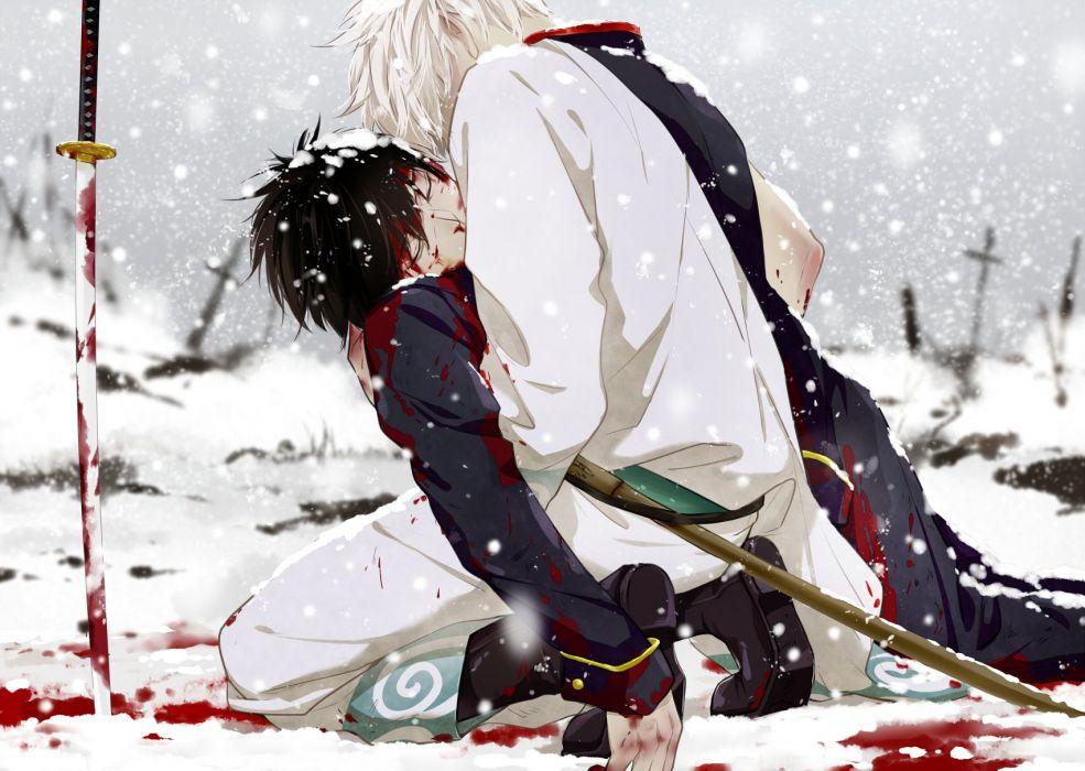 Gin Tama Sakata Gintoki Hijikata Toushirou Shinsengumi Uniform (Gin Tama) Snowing wallpaper