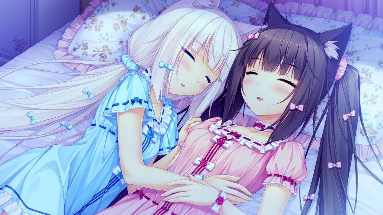 girls animal ears bed catgirl chocola (sayori) game cg long hair nekopara sayori sleeping vanilla (sayori) wallpaper