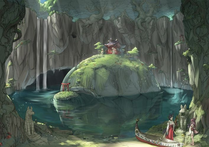 girls animal ears black hair boat brown hair flowers forest japanese clothes long hair miko nukomasu original tail torii tree turtle water waterfall wallpaper