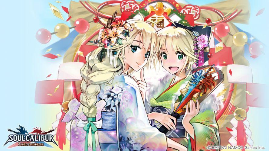 girls blonde hair japanese clothes kimono soul calibur tagme wallpaper