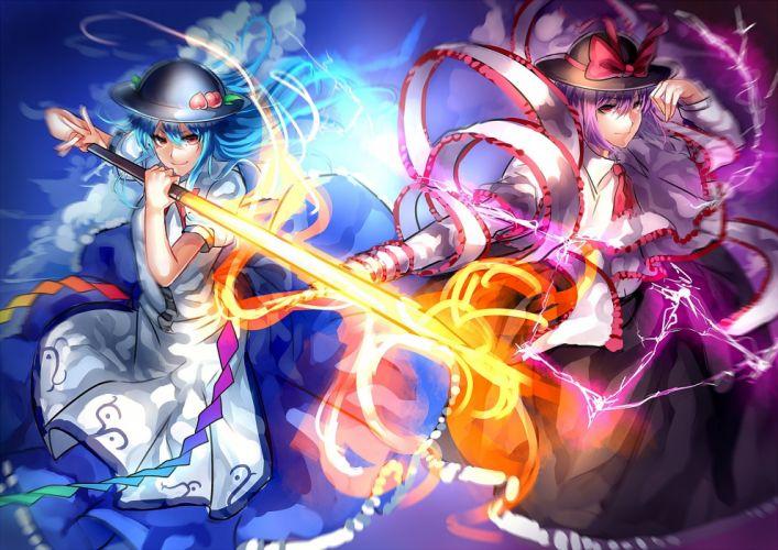 girls blue hair bow dress hat hinanawi tenshi long hair nagae iku purple hair red eyes short hair sword touhou uu uu zan weapon wallpaper