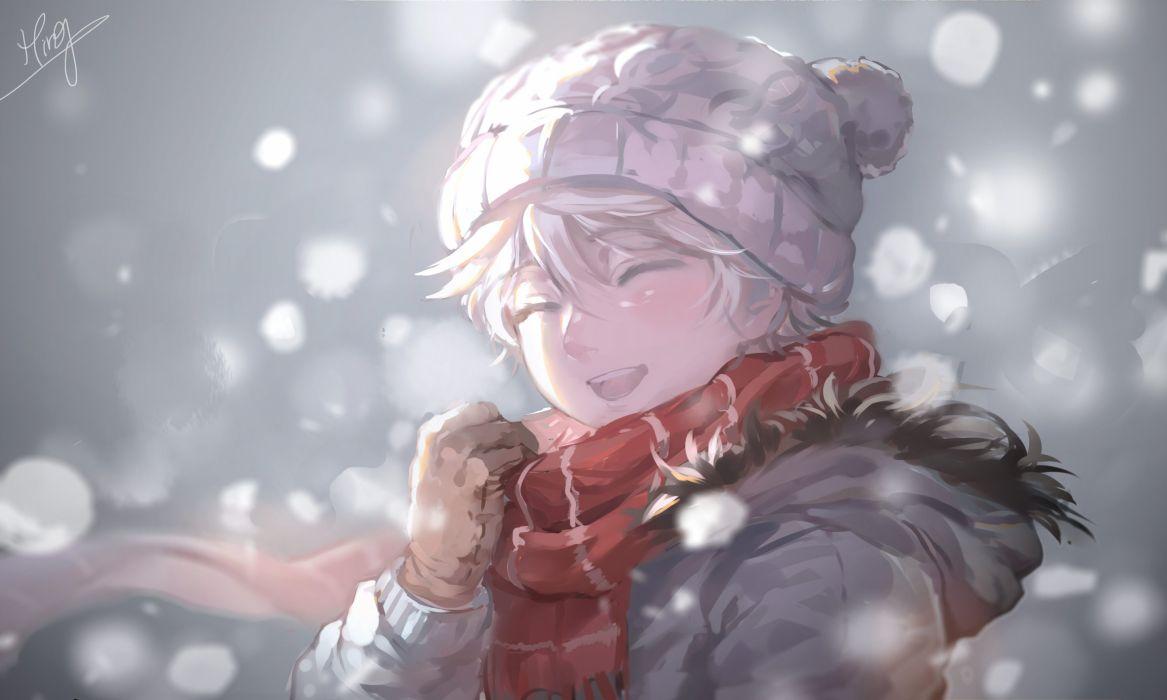 gloves hat male scarf short hair slaine troyard snow white hair winter wallpaper