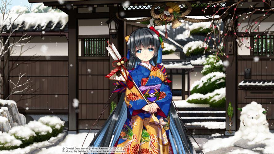japanese clothes kirino kasumu suishou shizuku watermark yukata f wallpaper