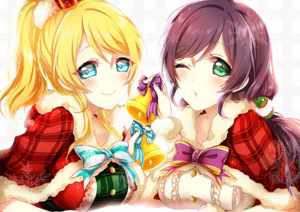 Love Live Toujou Nozomi Ayase Eri Costume Christmas Outfit wallpaper