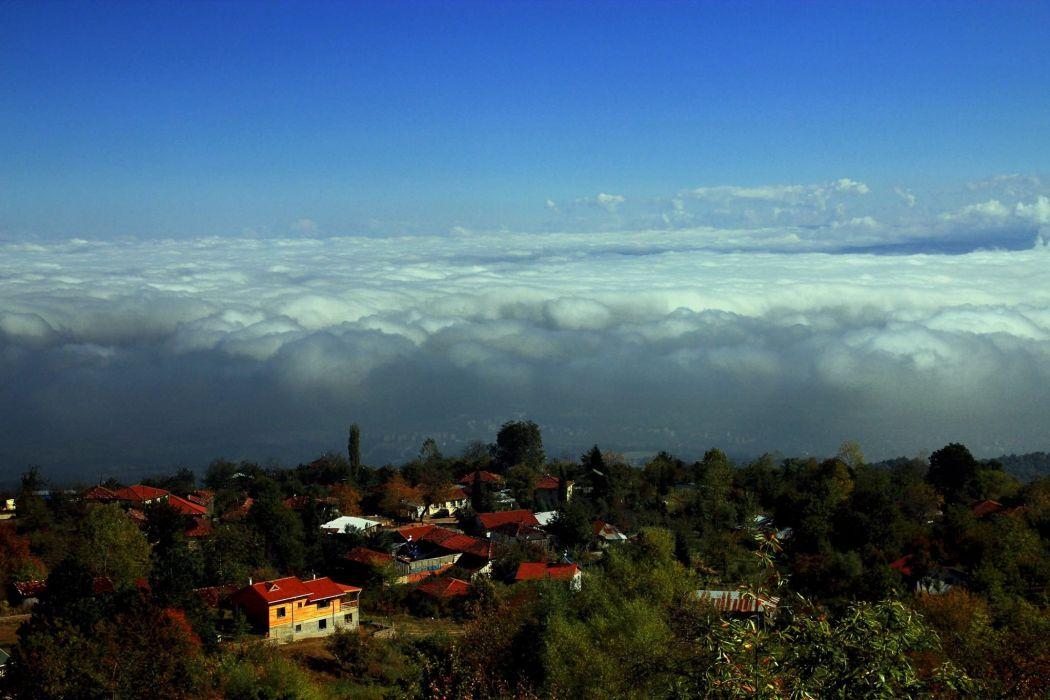 bursa mountain sky clouds house turkey wallpaper