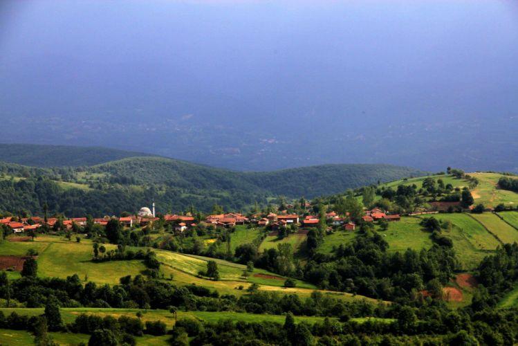 village green forest mountain sky houses bursa turkey wallpaper