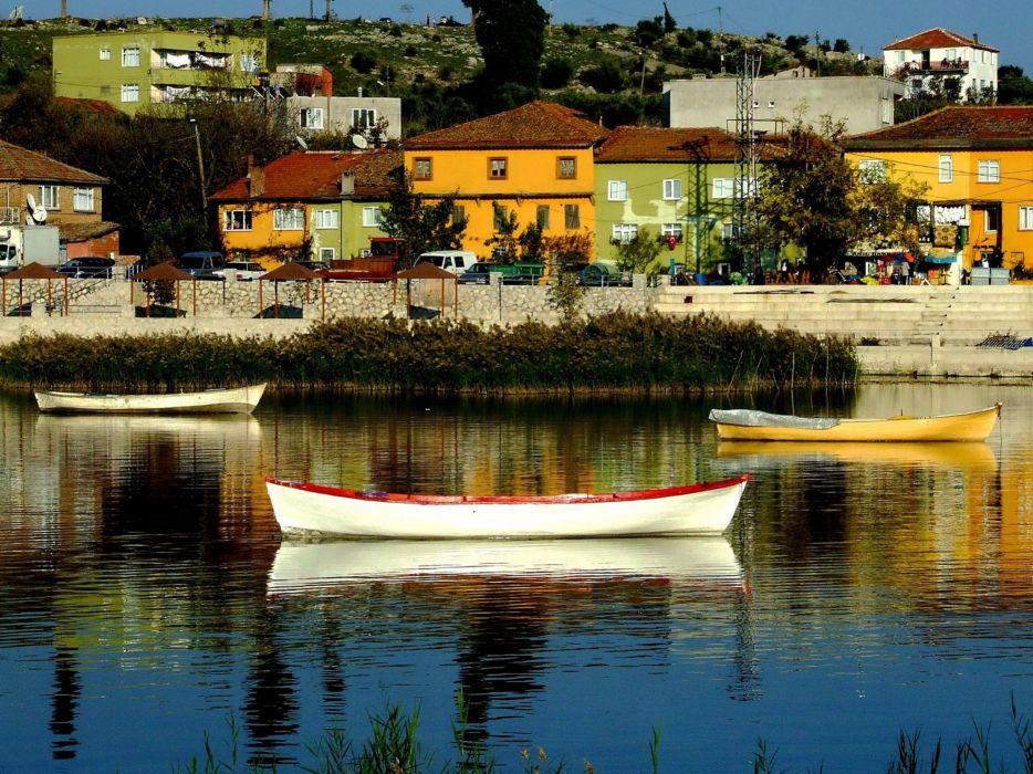 boat house bursa turkey water wallpaper