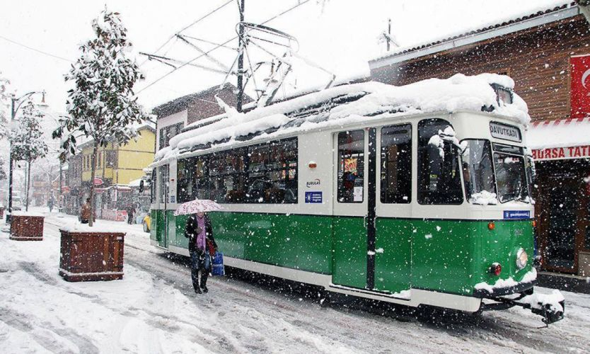 bursa turkey beautiful winter snow landscape umbrella girl Tramvay wallpaper