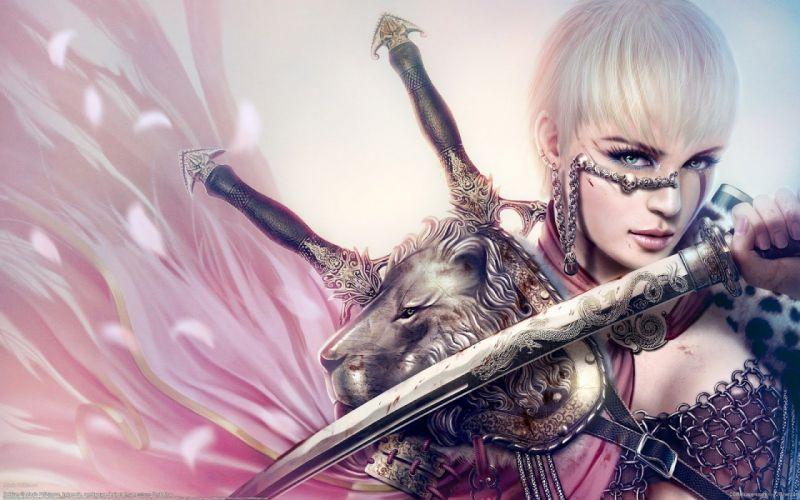 fantasy girl warrior beautiful short hair pink sword blue eyes wallpaper