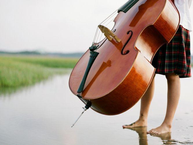 mood music grass girl instrument wallpaper