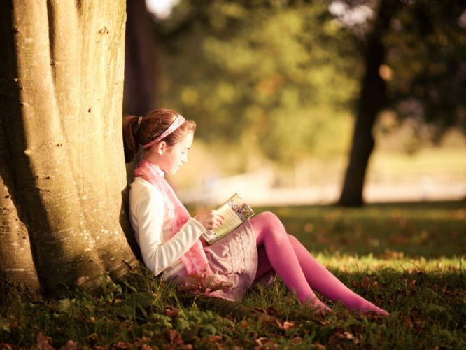 mood book girl tree sunshine sunlight children grass wallpaper