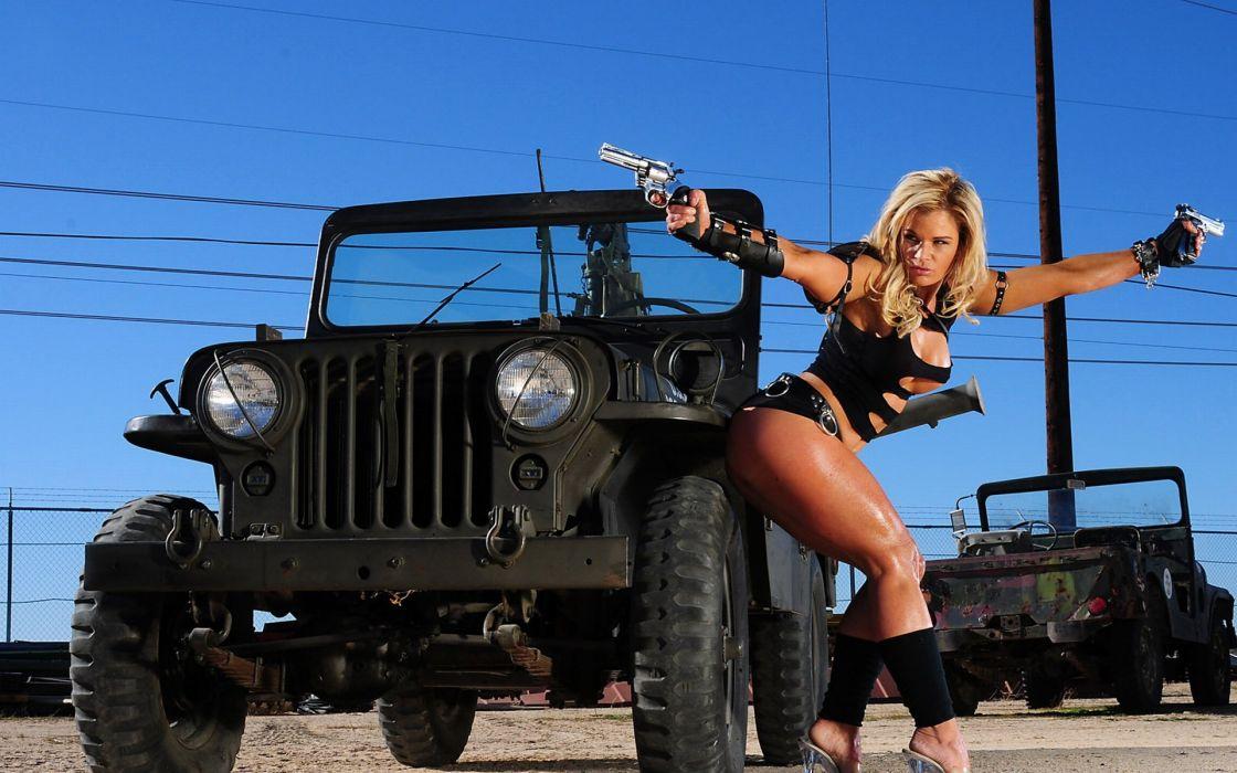 WOMEN AND GUNS - blonde girl strong pistol shooting wallpaper