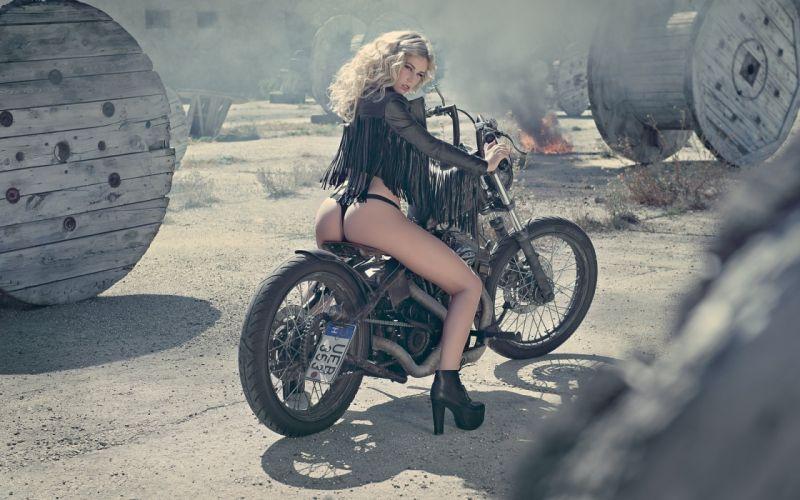 WOMEN AND MACHINES - girl blonde lingerie legs motorcycle model wallpaper