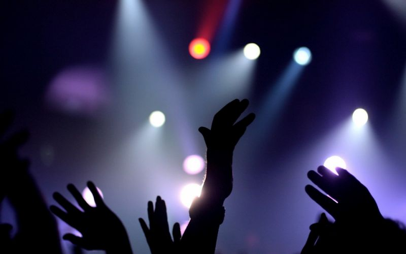 concert - group - hand - Happy - Light - mood - music - peoples - blue wallpaper