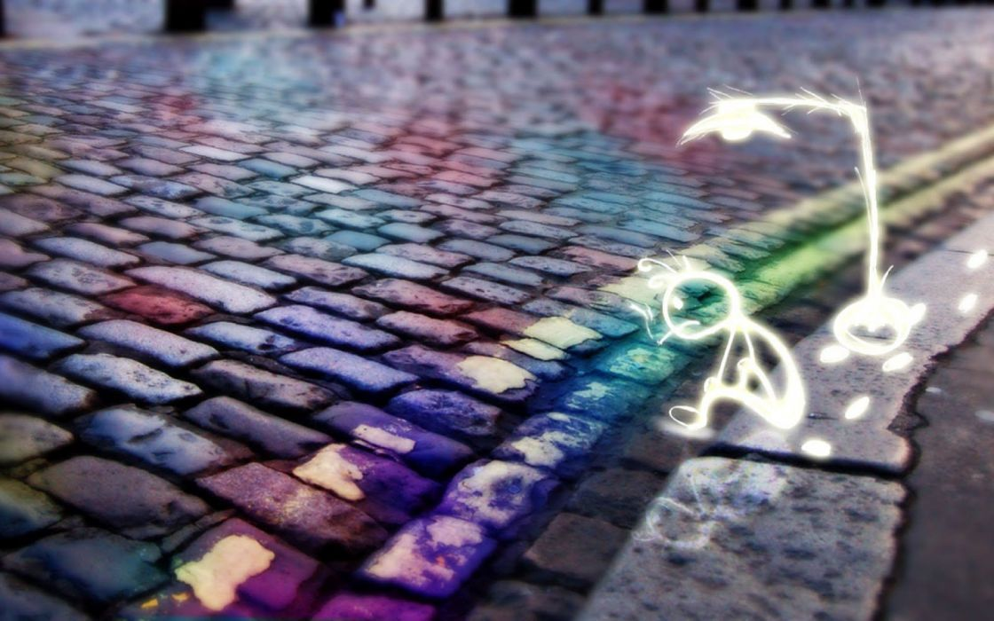street Stone paving drawing color city wallpaper