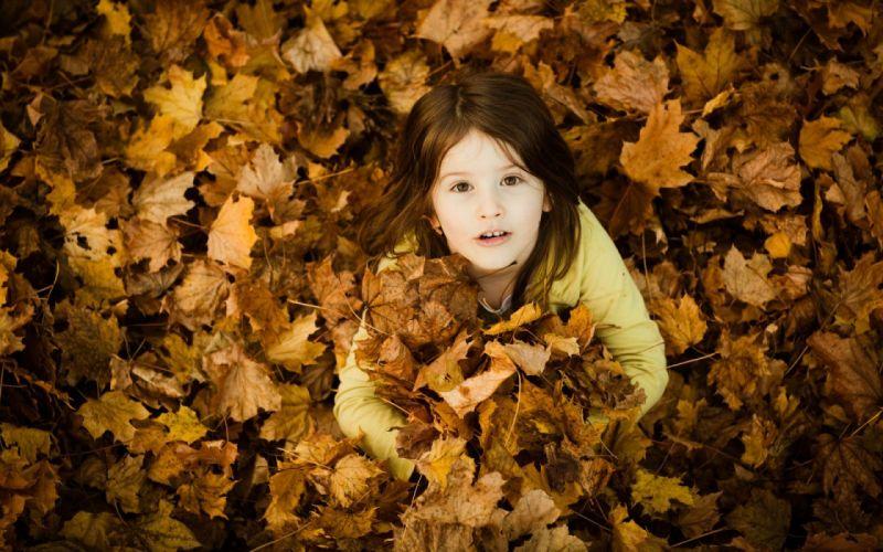 leaf children girl blonde cute mood wallpaper