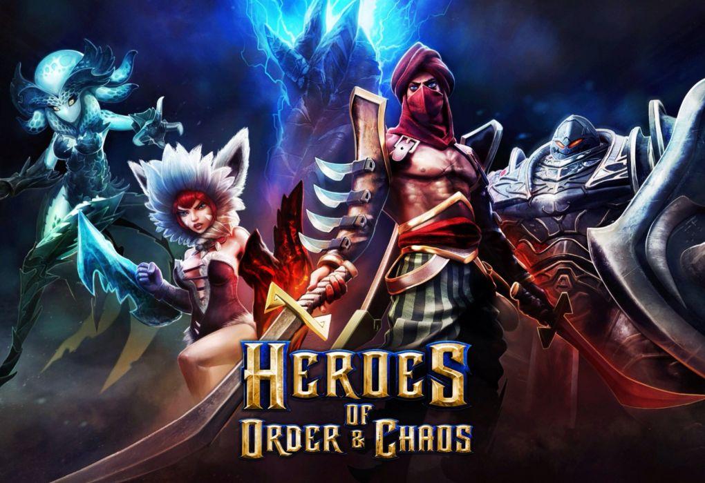 HEROES ORDER CHAOS fantasy fighting action adventure mmo online 1heroeschaos rpg warrior poster wallpaper
