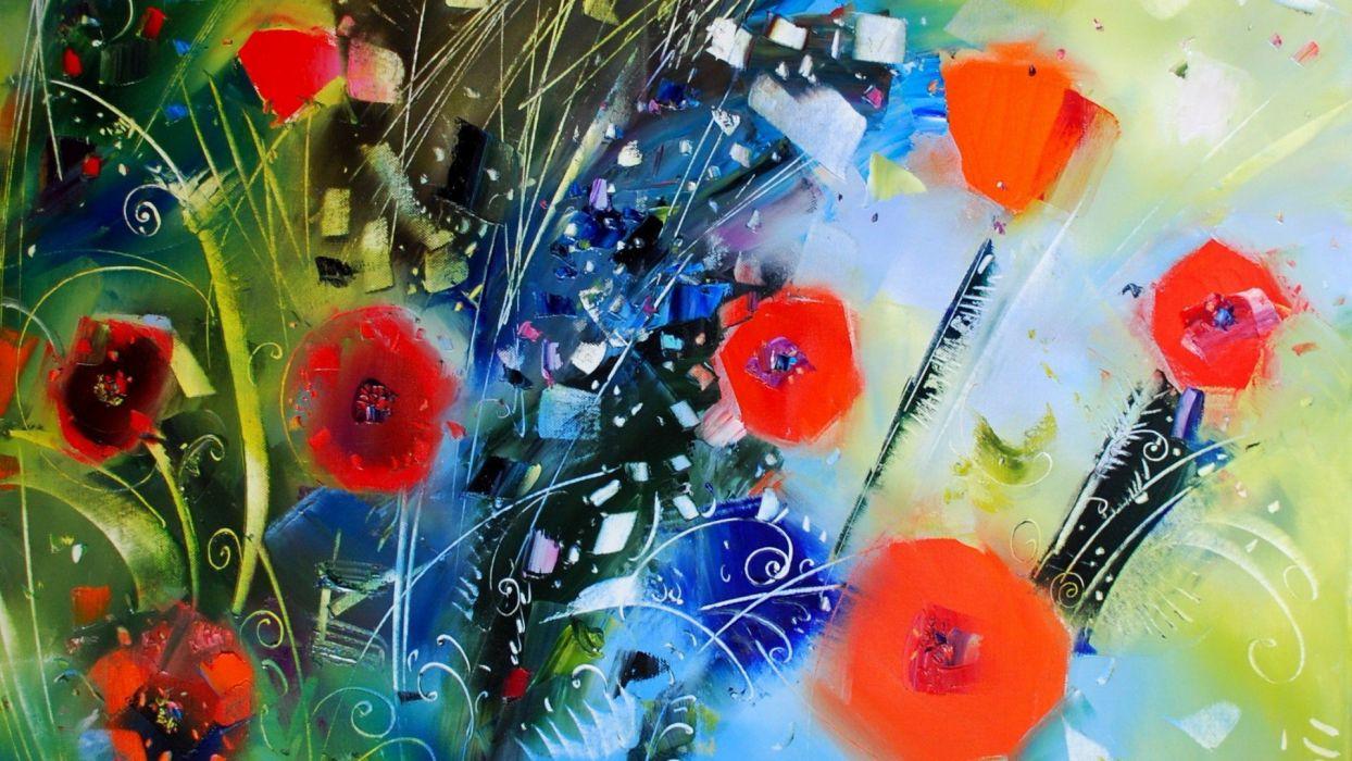 3D-graphics poppies art wallpaper