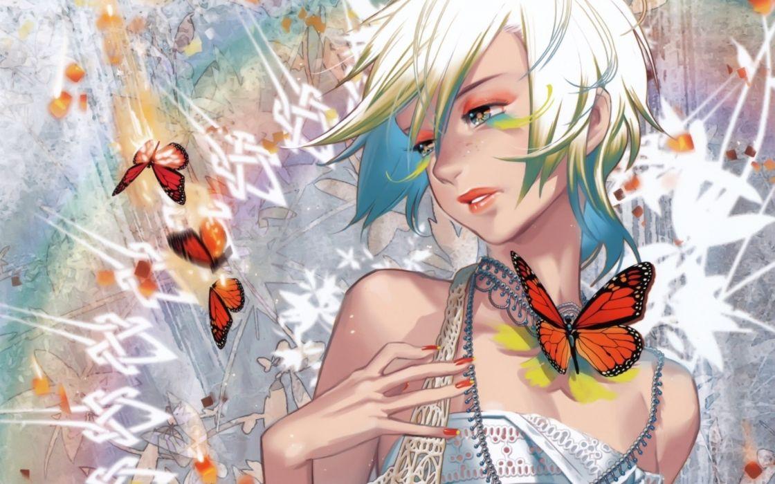 anime girl butterfly beautiful innocent wallpaper
