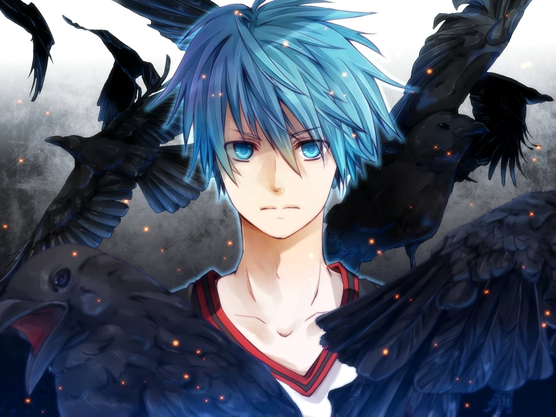 An Anime Character With Blue Hair : Anime the guy blue eyes hair ravens wallpaper