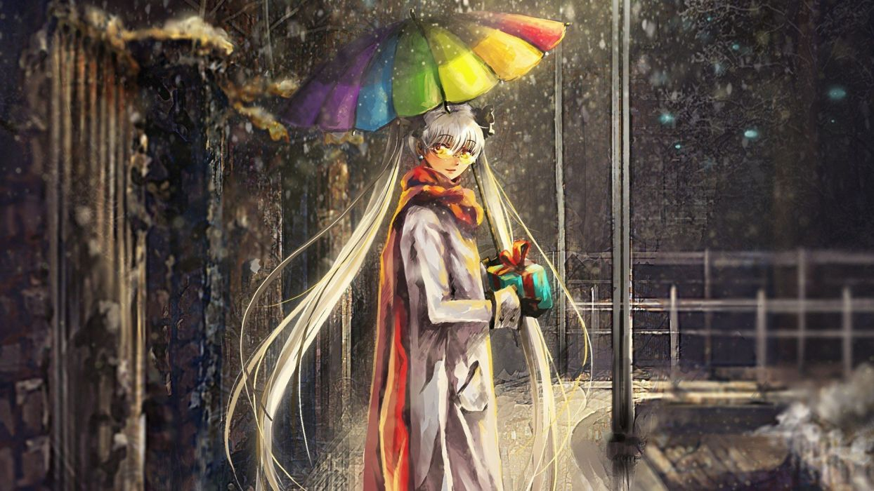 Anime Girl with colorful umbrella wallpaper