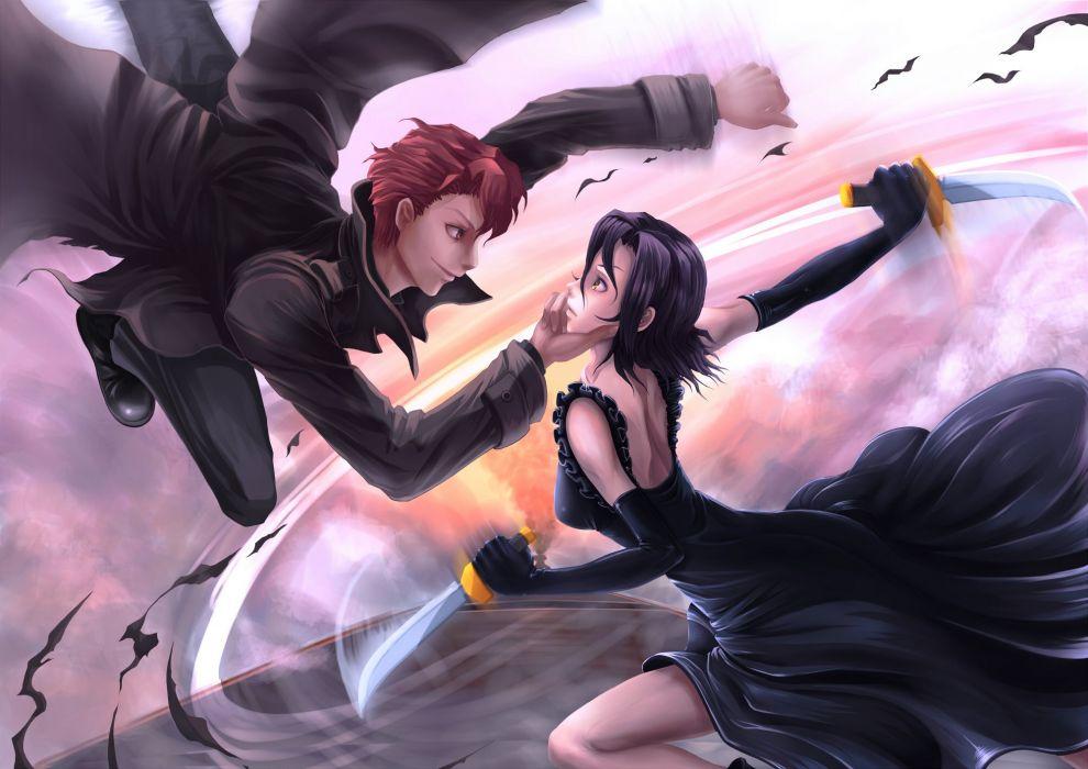 Anime Hype girl guy sky black dress wallpaper