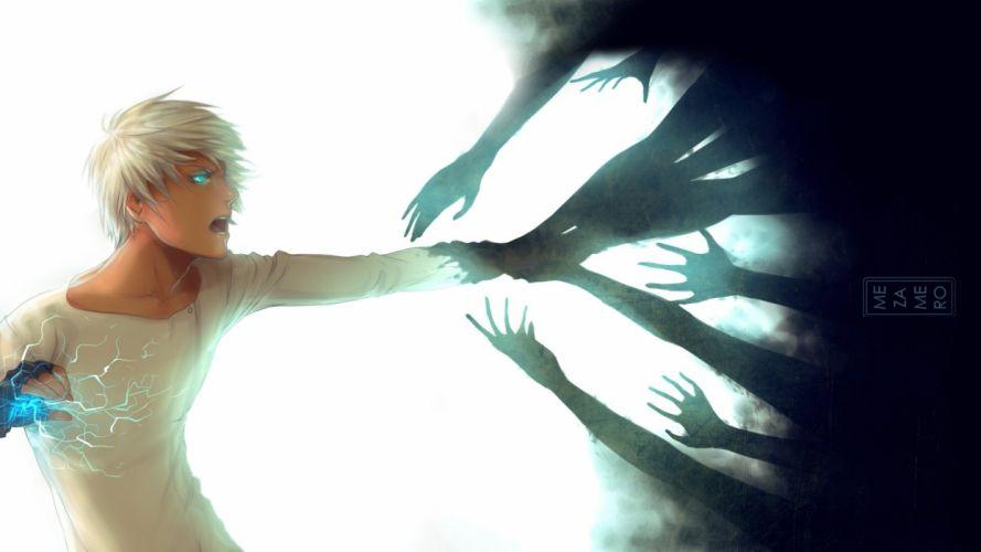 Blue eyes Guy picture lighting anime wallpaper