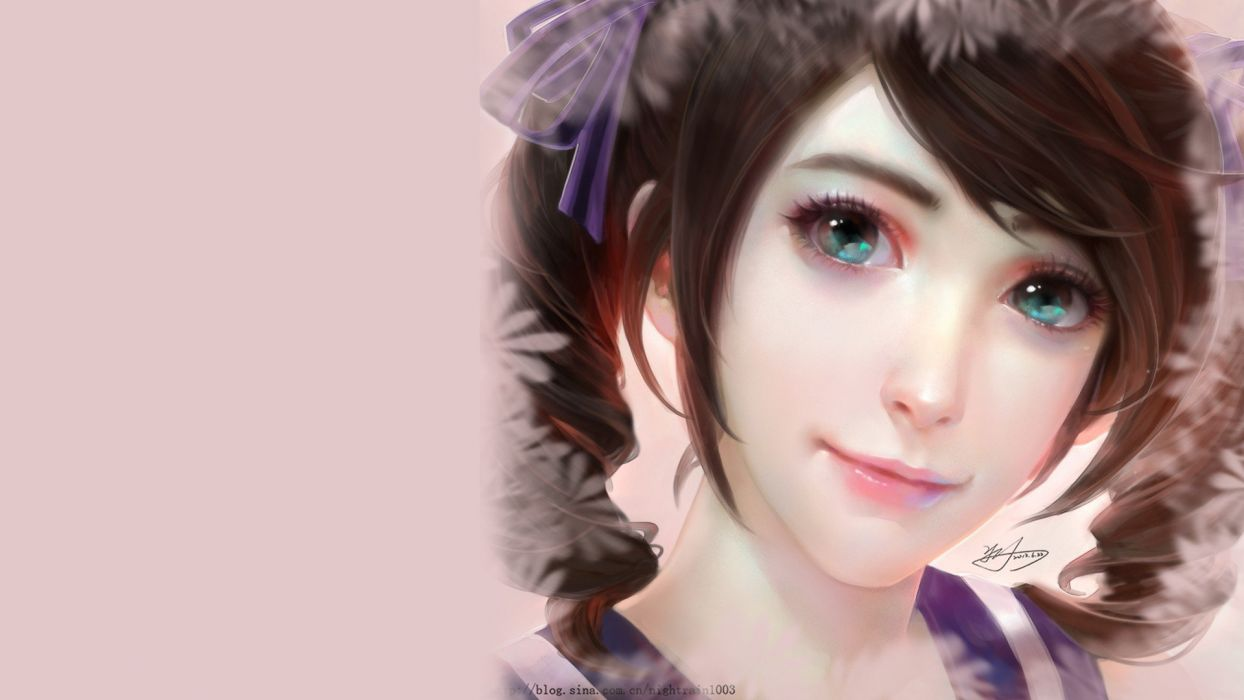 Drawn fantasy Painted girls japanese woman with big eyes wallpaper