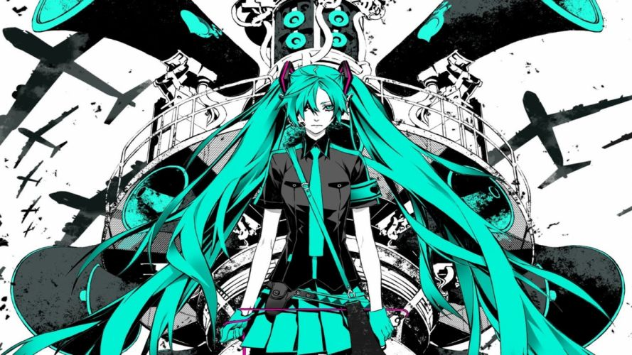 Hatsune Miku Vocaloid anime girl music Megurine Luka video game beauty beautiful lovely sweet cute humanoid green hair tail long character wallpaper