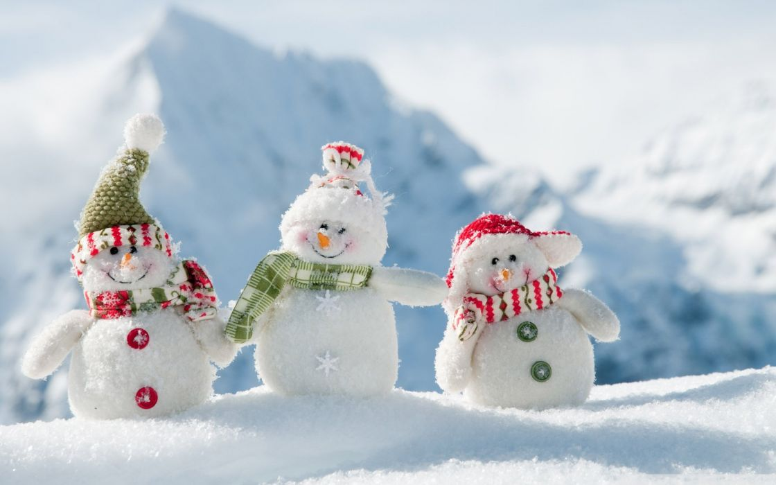 holiday christmas snowman cute winter mood snow wallpaper