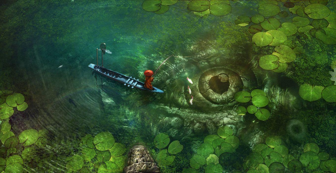 Monster lake fantasy red green fish wallpaper