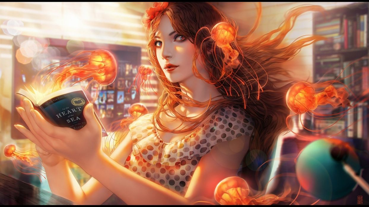 fantasy woman book jellyfish wallpaper
