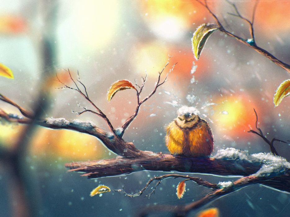 art painting bird tree snow winter wallpaper