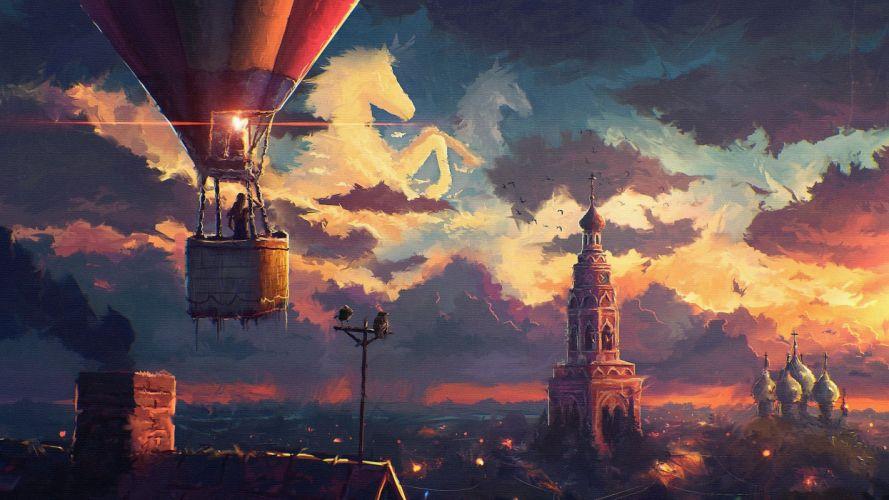 fantasy city sky cloud balloon horse wallpaper