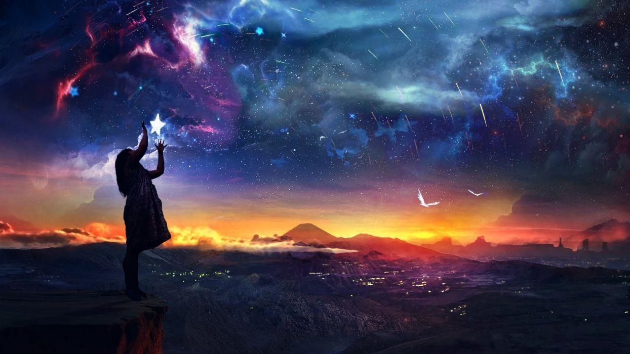 fantasy artwork sunset sky stars birds girl wallpaper