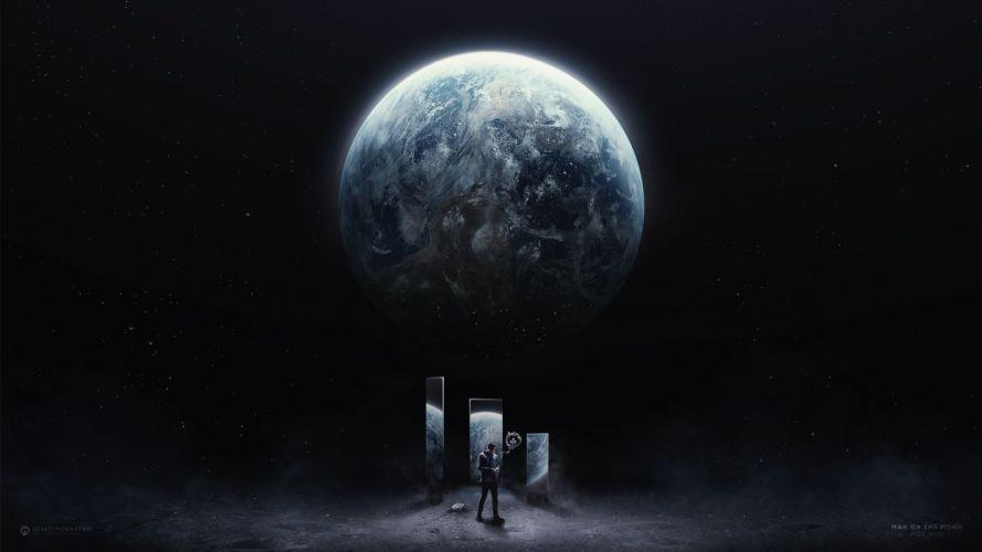 galaxy moon man star fantasy earth wallpaper