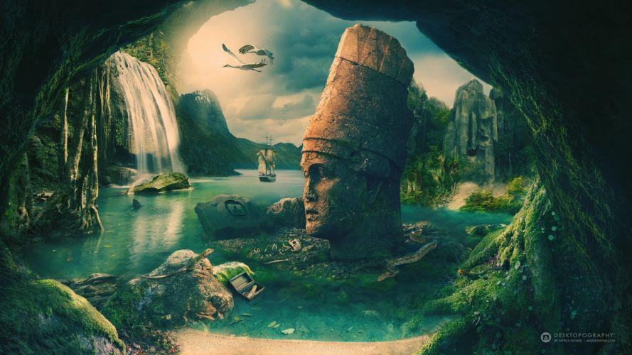 nemrut fantasy lake bird landscape wallpaper