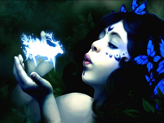 The Beginning Fantasy - Witch girl blue wallpaper